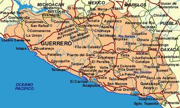 Mapa del Estado de Guerrero Mexico  Acapulco Guerrero Mexico